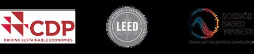 CDP, Leed and SBT logos