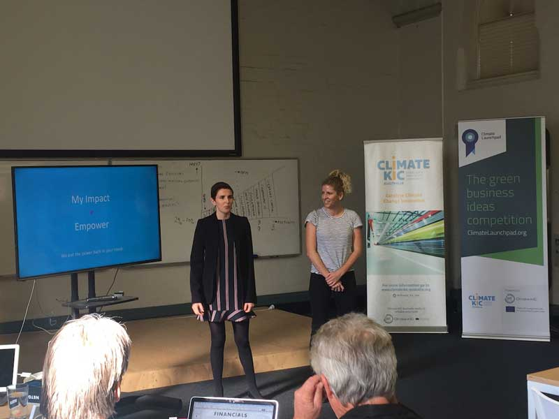 Ash and Jaine present 'My Impact' at the ClimateLaunchpad bootcamp in Sydney