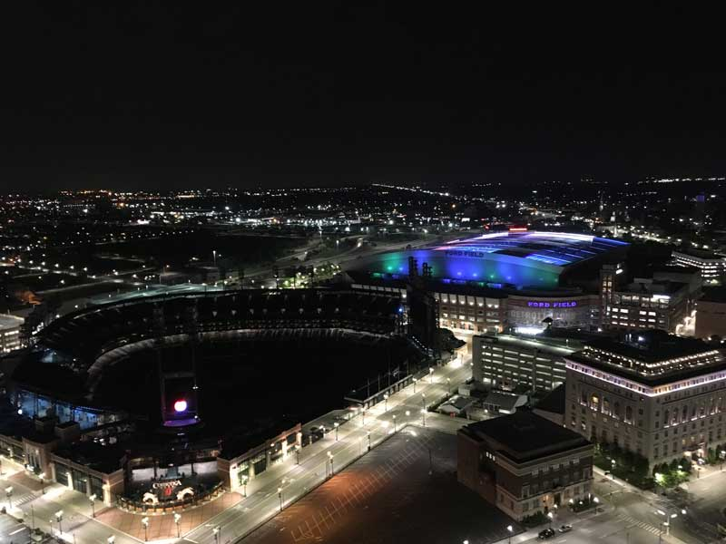 Detroit's famous 'Ford Field' baseball stadium, viewed from KoAnn's penthouse party venue