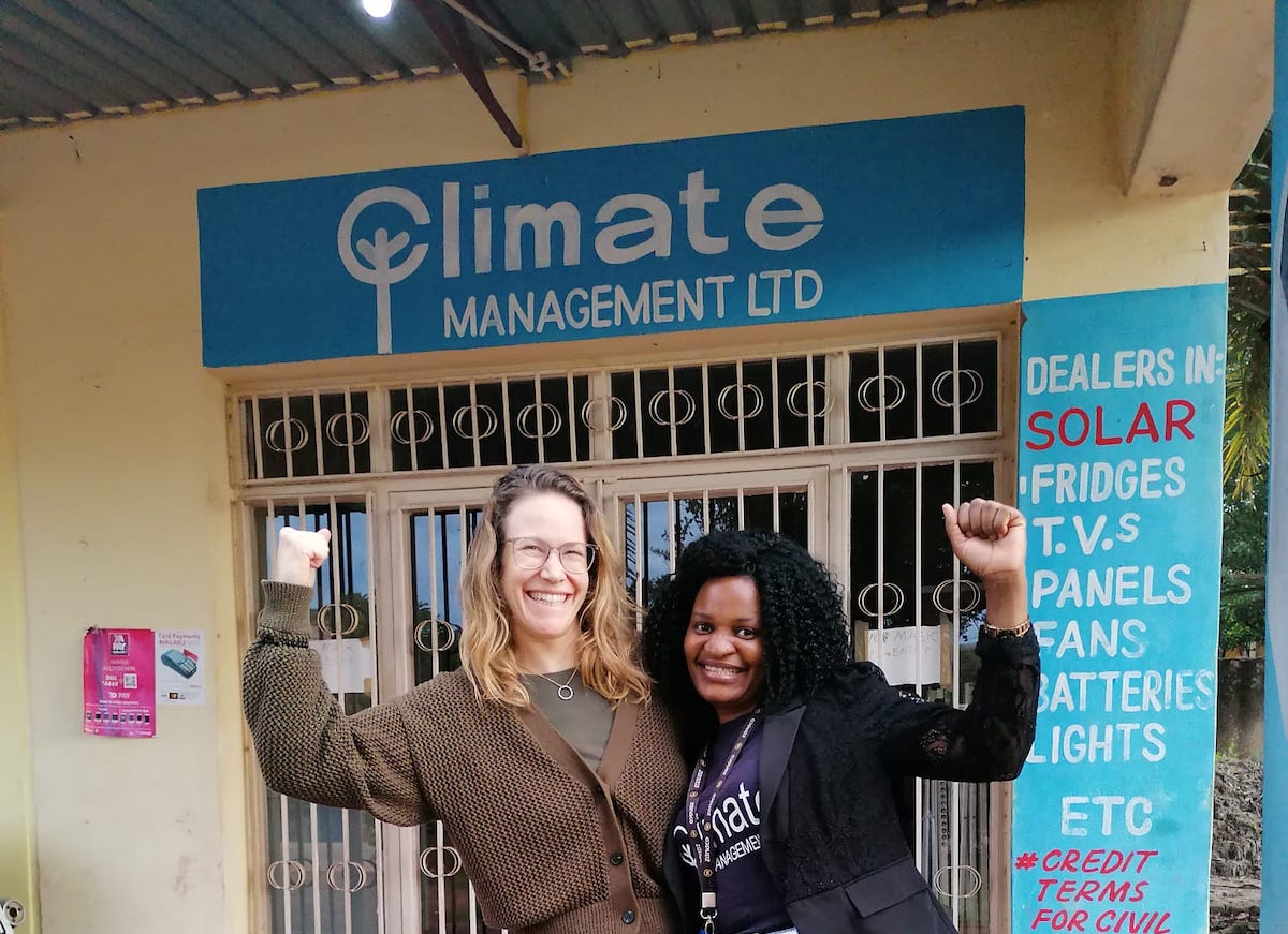 Image: MPower head of partnerships Sophie Meierhofer and local store manager Mercy Phiri in Chipata, Zambia