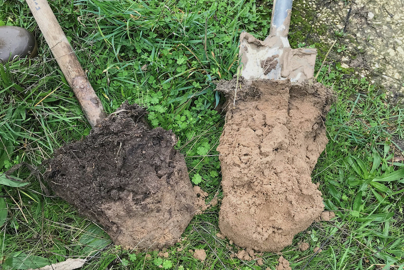 Image - On the left we have dark, carbon-rich soil, high in nutrients and ideal for growing, on the right is dry, carbon-poor soil that requires chemical inputs to produce similar yields (Image courtesy of Soil Capital)