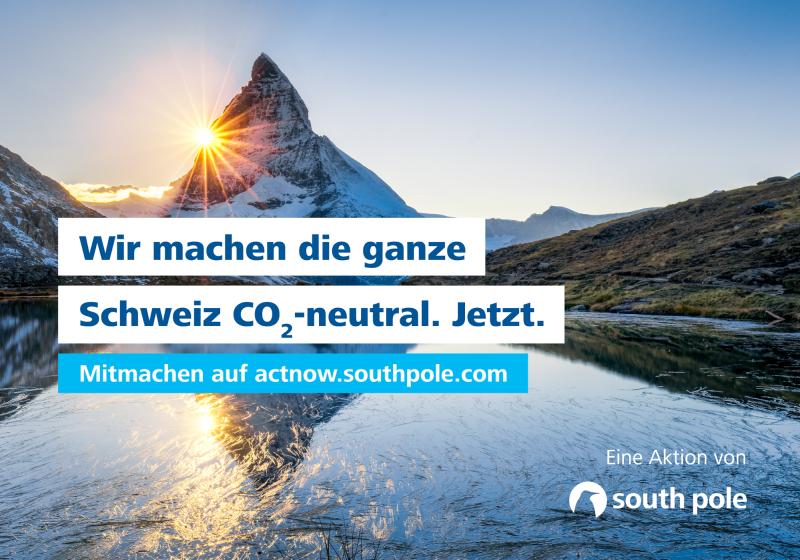 """Die ganze Schweiz schon CO2-neutral. """"ActNow""""!"""